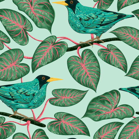 Seamless pattern with tropical birds and plants. Exotic flora and fauna. Vintage hand drawn vector illustration in watercolor style