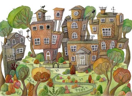 Casas y árboles de la historieta de la acuarela en la montaña. Pequeño pueblo de hadas. Concepto de diseño vintage para impresión o cartel. Dibujado a mano ilustración Foto de archivo - 80167504