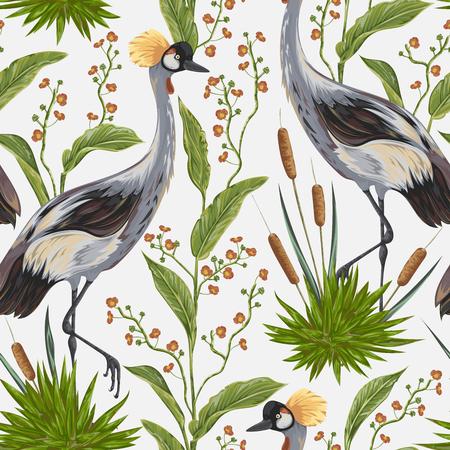 Seamless pattern with crane bird and wild plants. Oriental motif.