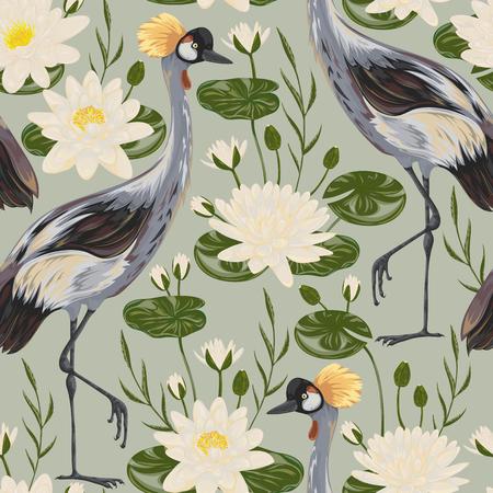 Motif sans couture avec l'oiseau-grue et le nénuphar. Banque d'images - 80541506