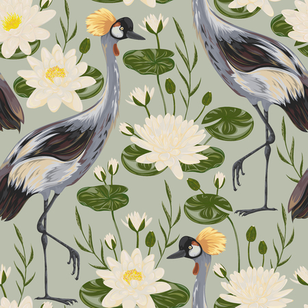 Seamless pattern with crane bird and water lily.