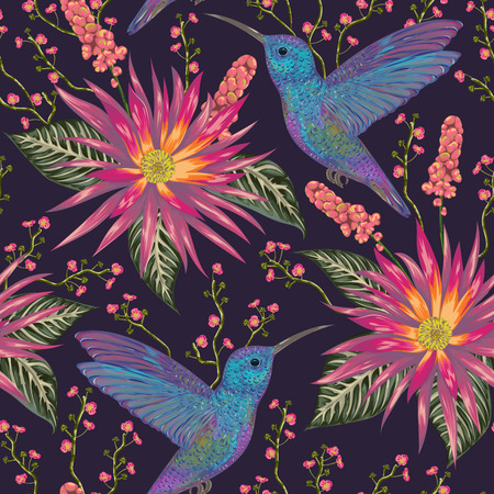 Seamless pattern with hummingbird, tropical flowers,berries and leaves. Exotic flora and fauna. Vintage hand drawn vector illustration in watercolor style Vettoriali