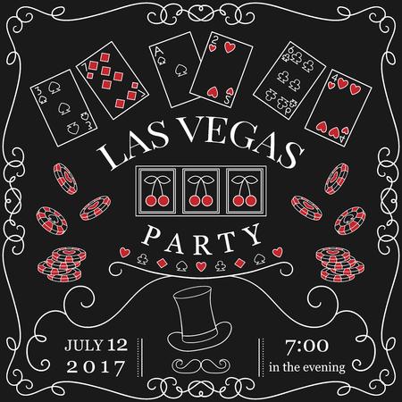 Las Vegas party invitation on chalkboard with decorative elements. Vintage vector illustration
