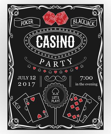 De partijuitnodiging van het casino op bord met decoratieve elementen. Vintage vectorillustratie
