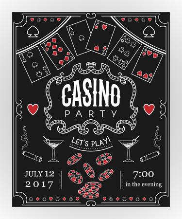 装飾的な要素を持つ黒板にカジノ パーティーの招待状。ビンテージ ベクトル図