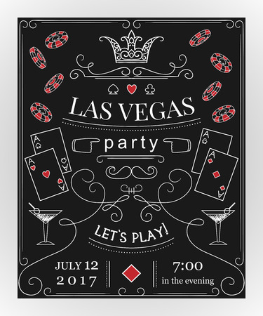 装飾的な要素を持つ黒板にラスベガスのパーティーの招待状。ビンテージ ベクトル図