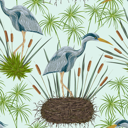 cattail: Seamless pattern with heron bird, nest and swamp plants. Marsh flora and fauna. Isolated elements Vintage hand drawn vector illustration in watercolor style