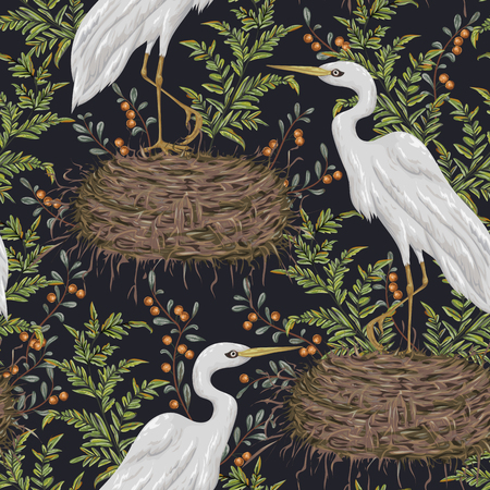 Seamless pattern with heron bird, nest and swamp plants Illustration