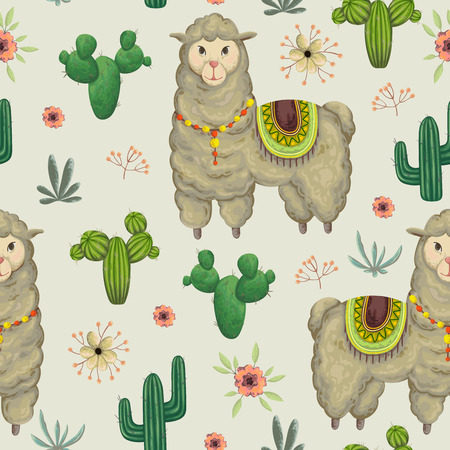 A Seamless pattern with lama animal, cacti and floral elements. Hand drawn vector illustration in watercolor style.