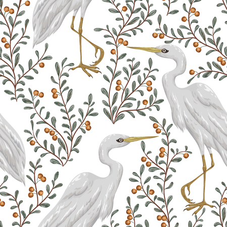 Seamless pattern with heron bird and cranberry plant. Rustic botanical background. Vintage hand drawn vector illustration in watercolor style  イラスト・ベクター素材