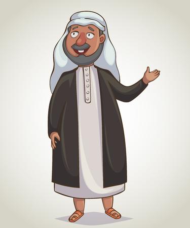 Uomo arabo. Personaggio dei cartoni animati. Illustrazione vettoriale Vettoriali