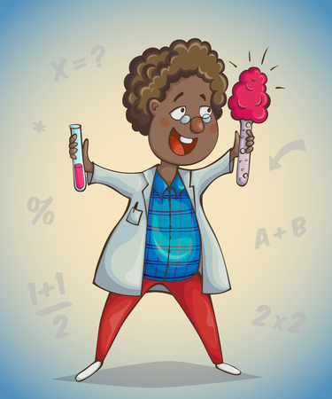 analyze: African boy scientist surprised by discovery. Cartoon character. Vector illustration