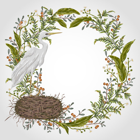 Wreath with heron bird, nest and swamp plants. Marsh flora and fauna. Isolated elements Vintage hand drawn vector illustration in watercolor style Stock Vector - 82665801