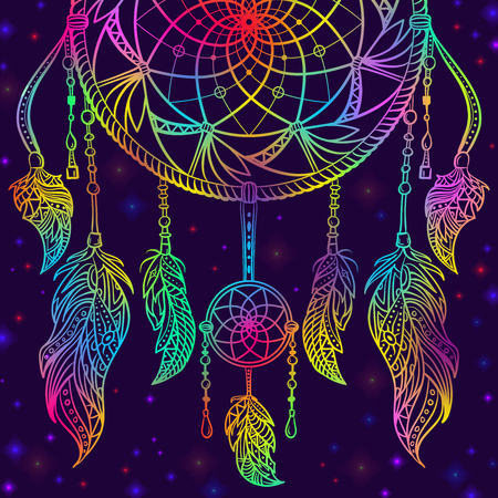 Colorful dream catcher with ornament and night sky with stars. Design concept for banner, card, t-shirt, print, poster. Vintage hand drawn vector illustration