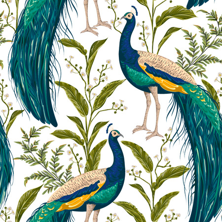 Seamless pattern with peacock, flowers and leaves. Vintage hand drawn vector illustration in watercolor style
