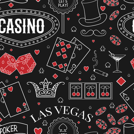 Casino theme. Seamless pattern with decorative elements on chalkboard. Gambling symbols. Vintage vector illustration Banco de Imagens - 83151937