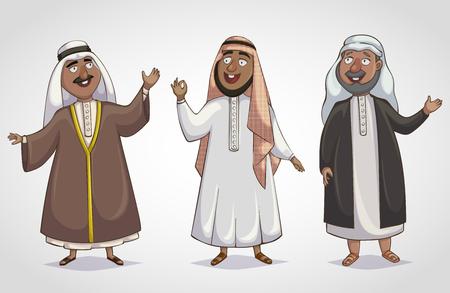 uomini arabi isolato. personaggio dei cartoni animati. illustrazione vettoriale
