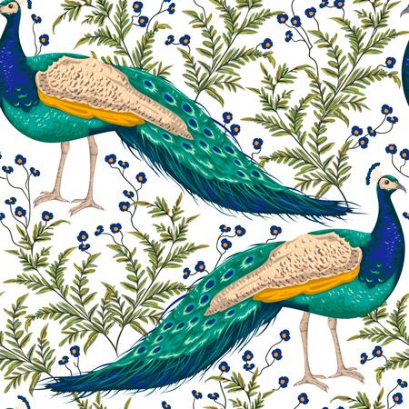 クジャク、花と葉とのシームレスなパターン。ヴィンテージ手描き水彩風ベクトル イラスト