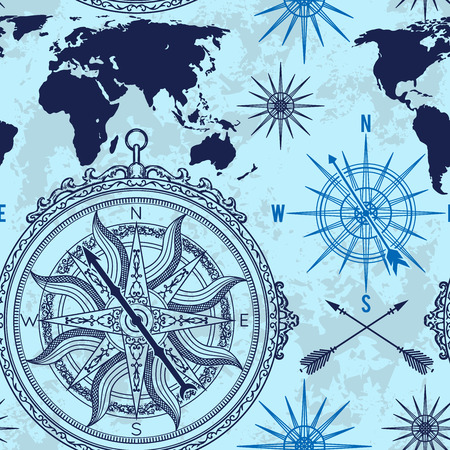 Seamless pattern with vintage compass, world map and wind rose. Retro hand drawn vector illustration on grunge background