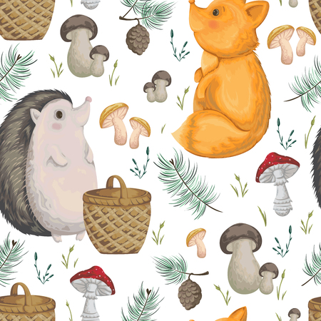 Seamless pattern with hedgehog, fox, basket, mushrooms, cones and spruce. Cute cartoon characters. Hand drawn vector illustration in watercolor style