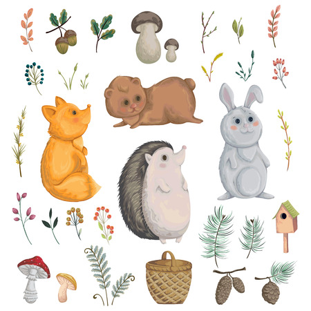 Collection of forest animals, mushroom, plant, berry, cones. Decorative elements in watercolor style for greeting card, invitation, baby shower party. Cartoon characters. Vector illustration.