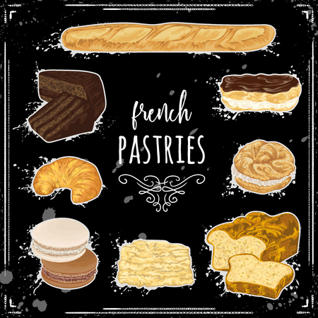 French pastries collection on chalkboard.. Brioche, macaroons, croissants, baguette, eclairs, paris brest, ganache, napoleon cakes. Isolated elements. Vector illustration in watercolor style