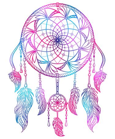talisman: Recogedor de sueño colorido con adornos y plumas. Concepto de diseño para banner, tarjeta, camiseta, impresión, póster. Vintage mano dibujado ilustración vectorial
