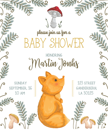 vintage postcard: Baby shower invitation with fox, mushrooms, flowers, leaves and fern. Cute cartoon character. Hand drawn vector illustration in watercolor style