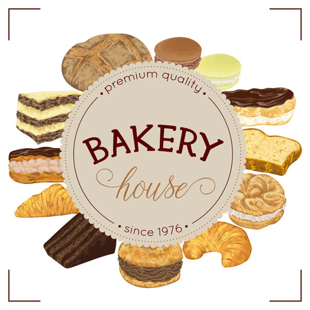 Bakery label with bread and pastries collection. Isolated elements. Hand drawn vector illustration in watercolor style