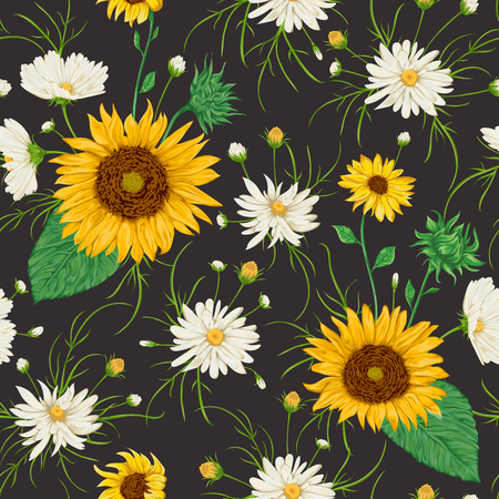 Seamless pattern with sunflowers and white chamomile flowers. Rustic floral background. Vintage vector botanical illustration in watercolor style. 일러스트