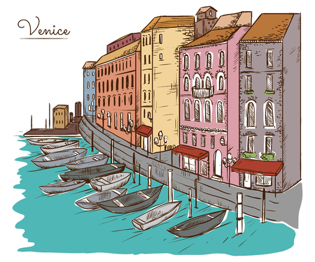 Venice. Cityscape with houses, canal and boats. Vintage vector illustration in sketch style Фото со стока - 85702293