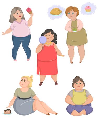 Bergewichtige fette Frauen eingestellt. Konzept der ungesunden Lebensweise und Diät. Vektor-Illustration Standard-Bild - 85702346