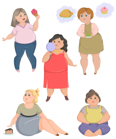 Overweight fat women set. Concept of unhealthy lifestyle and dieting. Vector illustration