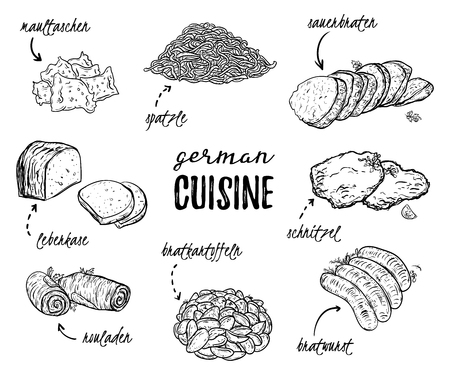 German cuisine. Collection of delicious food. Isolated elements. Concept design for decoration restaurants, menu. Vintage hand drawn vector illustration
