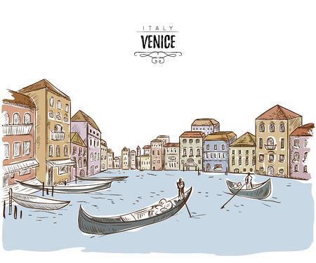 ヴェネツィア。家、運河、ボートとの街並み。スケッチスタイルのヴィンテージベクターイラスト  イラスト・ベクター素材