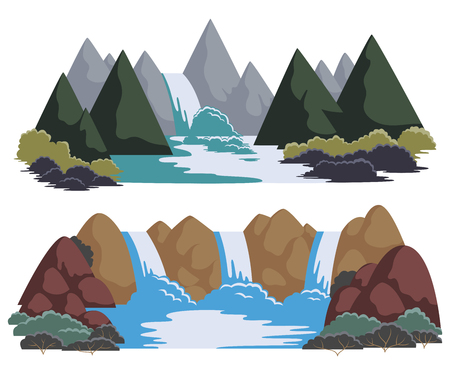 Cartoon landscapes with mountains and trees.