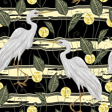 白鶴鳥とのシームレスなパターンは葉、ストライプの背景に金色のキラキラ箔テクスチャの円します。素朴な植物の背景。ヴィンテージ手描き水彩