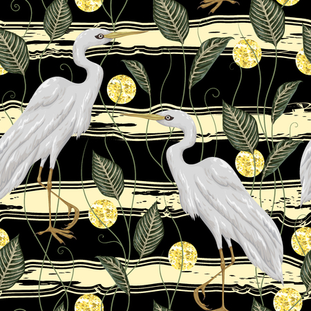Seamless pattern with white crane bird, leaves, circles with golden glitter foil texture on striped background. Rustic botanical background. Vintage hand drawn vector illustration in watercolor style