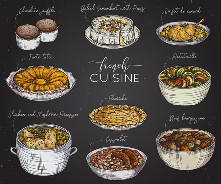 provence: French cuisine. Collection of delicious food on chalkboard. Isolated elements. Concept design for decoration restaurants, menu. Vintage hand drawn vector illustration Illustration