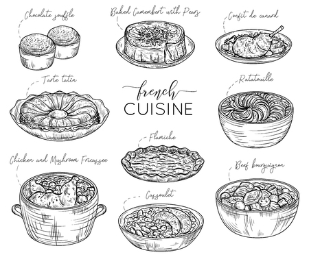 provence: French cuisine. Collection of delicious food. Isolated elements. Concept design for decoration restaurants, menu. Vintage hand drawn vector illustration