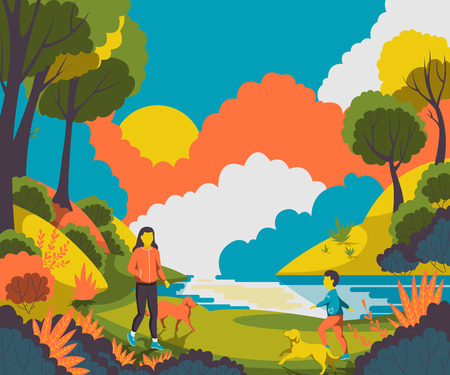 lake sunset: People walking with dogs in the park Vector illustration