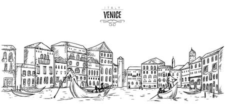 ヴェネツィア。都市景観の家、運河やボートがあります。スケッチ スタイルのビンテージ ベクトル図  イラスト・ベクター素材