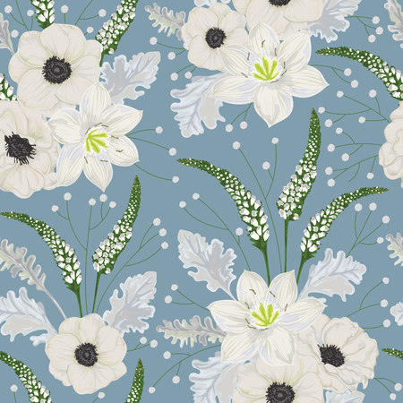 Seamless pattern with white anemone flowers, eucharis lily, dusty miller, snapdragons and gypsophila. Vintage winter floral elements. Hand drawn vector illustration in watercolor style Illustration