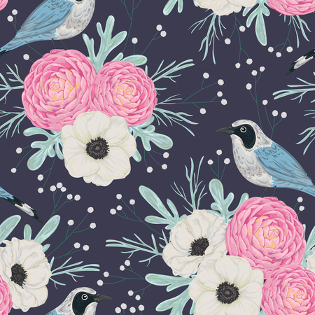 Seamless pattern with pink camellias, white anemone flowers, dusty miller, gypsophila and birds. Winter floral background. Vintage hand drawn vector illustration in watercolor style Illustration