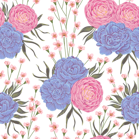 winter garden: Seamless pattern with pink camellias, blue geranium flowers and alstroemeria. Rustic botanical background. Vintage hand drawn vector illustration in watercolor style