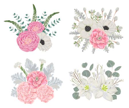 花入り装飾休日花束は葉や枝します。ヴィンテージ冬花の要素。手は、水彩風のベクトル図を描き