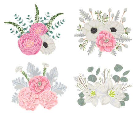Decorative holiday bouquets set with flowers, leaves and branches. Vintage winter floral elements. Hand drawn vector illustration in watercolor style 일러스트