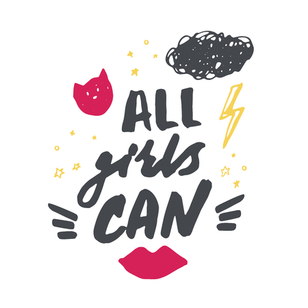 Hand drawn lettering with red lips, lightning and stars. All girls can. Vector illustration Illustration
