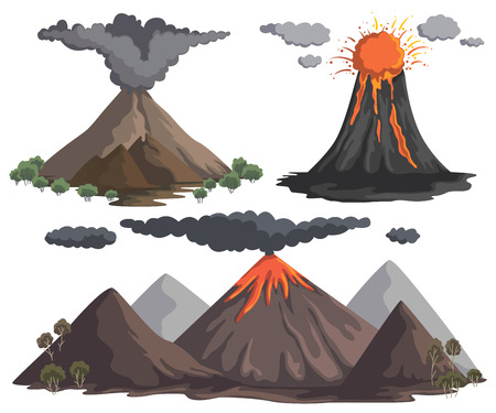 Volcanoes with magma, lava and smoke. Mountain landscapes. Vector illustration Illustration