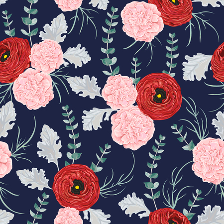 Seamless pattern with red ranunculus, carnation flowers, spiral eucalyptus and dusty miller. Decorative holiday floral background. Vintage vector illustration in watercolor style